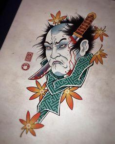 "Roma M De on Instagram: ""#namakubi 👱♂️🔪🖖 #thebesttattooartists #tattoos #tat #ink #japanesetattoo #design #drawing #irezumicollective #asian_inkandart #ipadpro…"" Japanese Tattoo Symbols, Japanese Dragon Tattoos, Japanese Tattoo Designs, Traditional Japanese Dragon, Japanese Art, Japanese Style, Dragon Tattoo Back Piece, Dragon Sleeve Tattoos, Face Painting Designs"