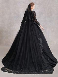 Halloween Wedding Dresses, Cute Wedding Dress, Wedding Dresses Plus Size, Lavender Wedding Dress, Dream Wedding, Fantasy Wedding, Black Bridal Dresses, Black Wedding Gowns, Gothic Wedding Dresses