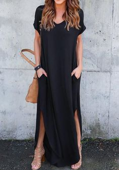 Black Side Slit Pockets Draped V-neck Short Sleeve Maxi Dress