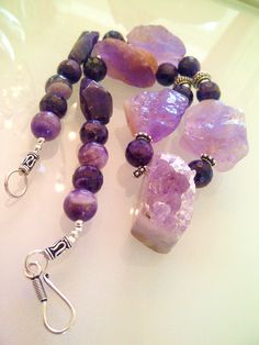 Chunky Amethyst Quartz Necklace-with sterling Silver- Handmade Vintage.Weddings .Gift.Statement Piece on Etsy, $189.07