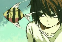 L Lawliet, fish, cute; Death Note