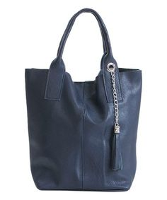 This Blue Tassel Pebbled Leather Tall Tote is perfect! #zulilyfinds