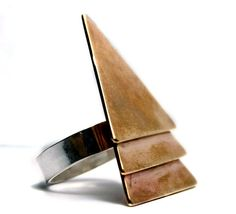 Stacked Geometric Tribal Ring in Brass Made To Order by PIROK, $60.00