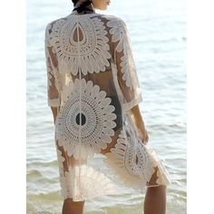 Bohemian Flare Sleeve Lace Spliced Women's Cover-Up   color:white price : $15.66