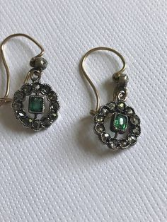 A Pair of Edwardian Emerald and Rose Cut Diamond Earrings by mitaineshop on Etsy Very Lovely, Beautiful, Diamond Earrings, Drop Earrings, Gold Set, Antique Jewellery, Rose Cut Diamond, Emerald, Buy And Sell