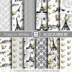 Paris Digital Paper Eiffel Tower Digital Paper Pack, Paris Scrapbooking, Vintage Floral Papers - INSTANT DOWNLOAD  - 1818