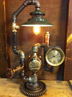 Steampunk Lamp Industrial Art Machine Age Light brass Steam Gauge train