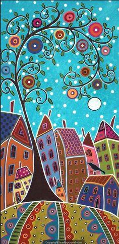 Stripes and Houses Folk Art Karla Gerard by KarlaGerardFolkArt Karla Gerard, Naive Art, Whimsical Art, Art Plastique, Tree Art, Oeuvre D'art, Doodle Art, Folk Art, Art Projects