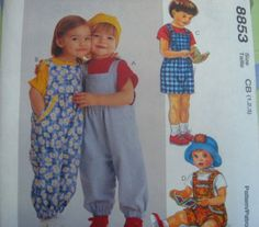 McCALLS Sewing Pattern 8853 - 2,3,4 - TODDLER JUMPER OR OVERALLS