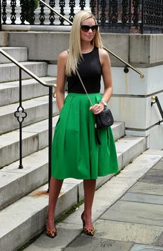 Black tank with colorful skirt and leopard print heels.