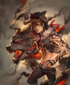 For xKoday by jurikoi.deviantart.com on @deviantART - I really admire the art style in the tattoos and the appearance of the wolf.