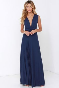 It's such a pretty dress! I love it! I'm gonna get it in lots of different colors! And, you can tie it in different styles! So pretty!  Get it at Lulu's http://m.lulus.com/products/tricks-of-the-trade-navy-blue-maxi-dress/104938.html