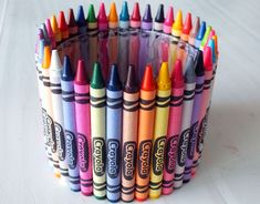 Crayon Candy Jar after all crayons were attached