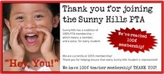 We're at 100% Membership and counting!  Keep up the great work.  We want every family at Sunny Hills to be a member! Join at http://sunnyhillspta.org/Home