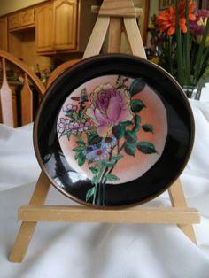 "Vintage Brass Over Porcelain Hand Painted Plate Bowl 5"" Diameter Flower Motif"