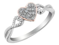 Diamond Infinity Heart Ring in 10K White and Pink Gold
