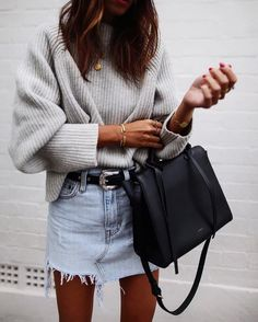 skirt with sweater outfit, casual style