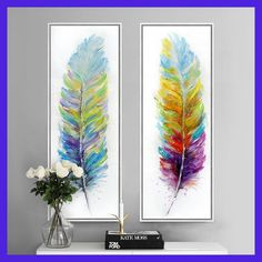 Color feather hand painted canvas art print modern oil painting picture home decoration wall art decoracion hogar picture
