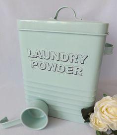 Duck Egg Aqua Blue Laundry Washing Powder Retro Shabby Chic Enamel Storage Tin Box & Scoop