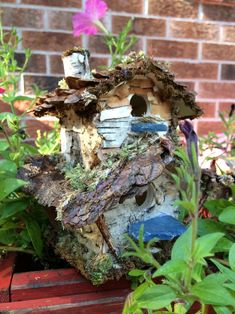 Beautiful two story fairy house with bark moss by ChezDarlington Create Yourself, Finding Yourself, Second Story, Unique Gifts, Handmade Gifts, Pine Cones, Bird Feeders, Sea Glass, Fairy