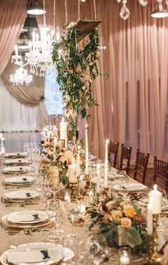 Romantic blush wedding decor, floral design by Everything and More Events, event planned by It Takes Two Events, photo by VUE photography | via junebugweddings.com