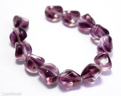 Purple Czech Beads 14mm 10 Large Nougat Bright by LaserBeads, $4.00
