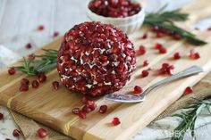 Pomegranate-studded rosemary cheddar cheese ball - part of a #glutenfree holiday menu | sheknows