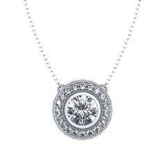 2/3 ctw Bezel Set Diamond Halo Necklace in Palladium