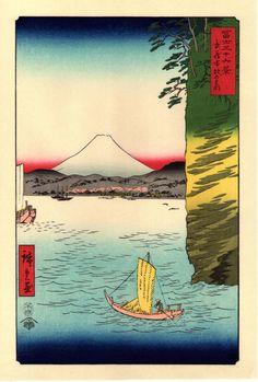 Woodblock print Japanese Ukiyoe Hiroshige Honmoku...