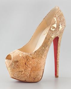 Highness Cork Peep-Toe Platform Red Sole Pump by Christian Louboutin at Neiman Marcus.