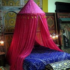 Bedroom, Pink Moroccan Bed Canopy With Accent Glitter And Blue Bedding Moroccan Style: Bright And Vary Color Moroccan Bed Canopy Dream Bedroom, Home Bedroom, Bedroom Furniture, Bedroom Decor, Canopy Bedroom, Bedrooms, Magical Bedroom, Bedroom Ideas, Pretty Bedroom