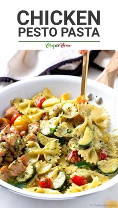 Chicken Pesto Pasta, a creamy chicken and pasta recipe with bow-tie pasta and succulent chicken cooked in lightened-up yet creamy Basil Pesto Sauce. Only 15 minutes of prep makes this recipe perfec. Grilled Pesto Chicken, Chicken Pasta Recipes, Recipe Chicken, Bow Tie Chicken Pasta, Bow Pasta Recipes, Bow Tie Pasta, Italian Pasta Recipes, Recipe Pasta, Kraft Recipes
