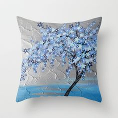 Blue star tree - turquoise and blue abstract painting Throw Pillow by Cathy Jacobs - $20.00
