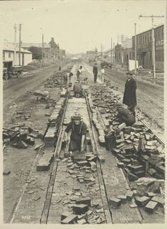 Tramway construction in Sturt St,South Melbourne in Victoria in 🌹 Melbourne Tram, Melbourne Suburbs, Melbourne Australia, Melbourne Victoria, Victoria Australia, World Images, Historical Images, Art Deco Era, Historical Architecture