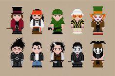 Johnny Depp Characters Cross Stitch PDF por pixelpowerdesign, $8.00