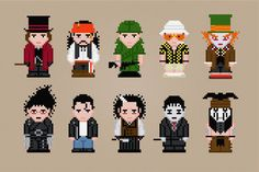 Johnny Depp Characters - Cross Stitch PDF Pattern Download via Etsy (the Fear and Loathing one is a must!)