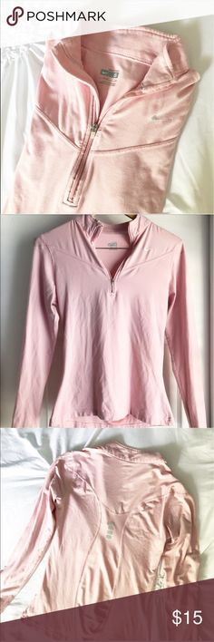 Nike Fit Dry Pullover Jacket This light pink jacket is seriously the softest ever! A perfect addition to your active wear collection. A partial zip up and a dry fit. In great used condition. Nike Jackets & Coats