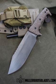 Miller Bros. Blades M-8. This model is available in Z-Wear PM, CPM 3V, CPM S35VN, Z-Tuff PM and 5160 steels Miller Bros. Blades Custom Handmade Knives, Swords & Tomahawks.