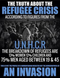 The truth about islamic refugees in the west - it is an invasion and our politicians say nothing - crickets. Refugee Crisis, Conservative Politics, New World Order, God Bless America, Way Of Life, We The People, Wake Up, Religion, Culture