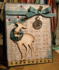 Shabby Grunged Reindeer Card...with ribbon, brads, & embellishments.