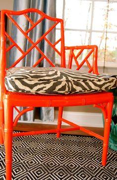 orange Chippendale chair cute