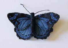 Common Gem Textile Butterfly Brooch Natural by BlueTerracotta