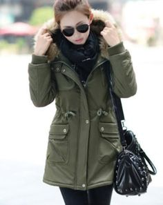 Casaco Feminino Hooded Winter Coat Women Army Military Wadded Cotton Md-long Thick Jacket 2015 New Waist Tunic Outerwear Hooded Winter Coat, Winter Coats Women, Coats For Women, Military Parka, Long Parka, Padded Jacket, Khaki Green, Fall Winter Outfits, Clothes