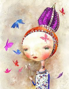 Crowned girl, by Cosei Kawa (illustration) Fine strokes and special color palete. Art And Illustration, Character Illustration, Whimsical Art, Surreal Art, Art Images, Collage Art, Art For Kids, Portrait, Drawings