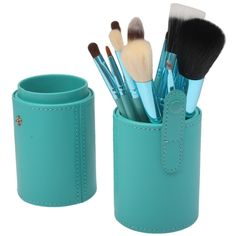 [$12.24] 12 PCS Professional Makeup Brush Set Beauty Kit Cosmetic with PU Leather Cup Carrying Case(Green)