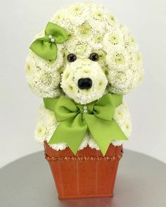 Toy Poodle made from fresh flowers. www.flowertoy.com