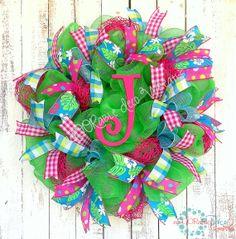 Summer Initial Wreath by aDOORableDecoWreaths on Etsy, $79.99