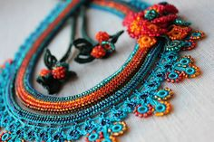 Asclepias Curassavica - Beaded Crochet Necklace - Turquoise Blue Orange Red by irregular expressions | by irregular expressions