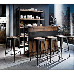 Industrieller Barhocker Manchester (2er-Set) – Akazie massiv/Metall, Industrial Design, furnlab | Loft | Möbel Liebe - Möbel mit Charakter
