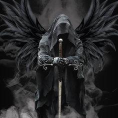 angel of death black wings hooded face sword, grim reaper Grim Reaper Art, Grim Reaper Tattoo, Body Art Tattoos, Sleeve Tattoos, Knight Tattoo, Warrior Tattoos, Angel Warrior Tattoo, Death Angel Tattoo, Angel Tattoo Men